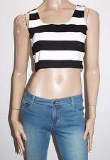 Bardot Brand Black White Crop Sleeveless Top Size 12-M BNWT #TE42