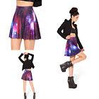 Punk Retro Galaxy Women High Waist Skater Flared Pleated Sexy Mini Short Skirt