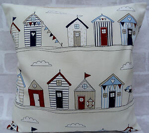 Fryetts Shabby Chic Beach Huts Blue and Cream cushion cover 16 inch all sizes