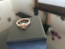 Pandora Rose Gold Plated Knot Ring Size 50 Cubic Zirconia