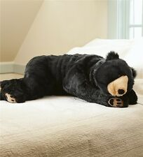 "Large Plush Bear Body Pillow Giant Soft Stuffed Animal Bodypillar 48"" Long Black"