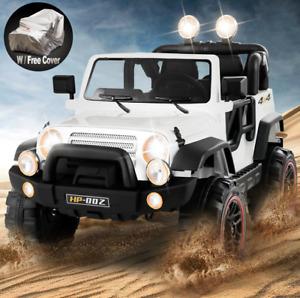 12V White Kids Ride on Car Truck Toys Electric 3 Speeds MP3 LED w
