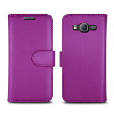 Plain Purple Leather Wallet Book Protect Case for Apple iPhone 4 5 SE 6 7 8 & X Samsung J3 - J320f - 2016 Edition / Version