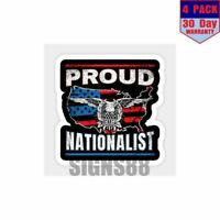 American Flag Proud Nationalist Patriotic Gift 4 pack 4x4 Inch Sticker Decal