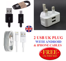 Dual USB UK Mains Wall 3 Pin Plug Charger For Samsung HTC iPhone 7 6 5 +  Cables