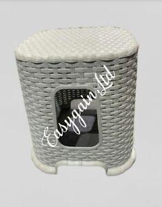2 X  Small Light Grey Rattan Stool Indoor Outdoor Home Garden Stackable Chair