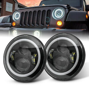 7 Inch Round LED Headlights Halo Angle Eye Turn Lamp For Hummer H1 H2 AM General