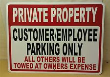 """Private Property Customer Employee Parking Aluminum Sign 9""""x12"""""""