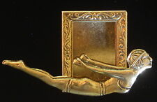 Swimmer Diver Female Photo Pin Brooch 24 kt Gold Plate