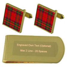 Tartan Clan Stuart Engraved Gold-Tone Money Clip