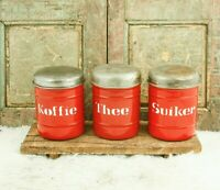 Vtg CANISTER SET Enamelware Coffee Sugar Tea Dutch Enamel Jars storage Pots Red
