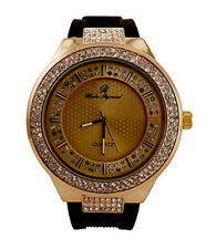 Hip Hop Rubber Band Iced Bling Watch with Double Dial Watch-8623 Black Gold