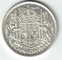 CANADA 1944 50 CENTS HALF DOLLAR KING GEORGE VI CANADIAN .800 SILVER COIN