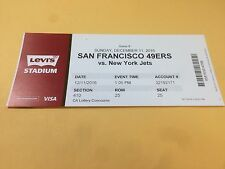 San Francisco 49ers New York Jets SUPER RARE Ticket Stub 12/11/2016