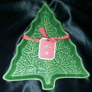 2019 Hallmark Christmas Tree Ceramic Serving Tray, Candy Dish - NEW