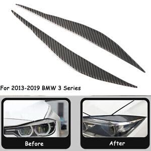 Carbon Fiber Front Head Light Eyelids Eyebrows Special Trim For BMW F30 13-2019