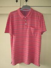 White Stuff ~ Men's Coral Stripe Short Sleeved Cotton Polo Shirt ~ Size M Medium