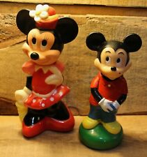 Vintage Disney Mickey Mouse And Minnie Mouse Rubber Collectible Figures Bank +