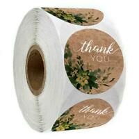 500pcs/roll Natural Kraft Thank You Stickers Round Seal Labels for Shop Handmade