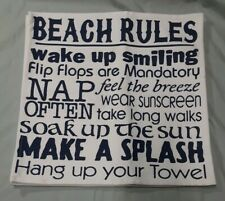 New 4 Cynthia Rowley Placemats Set 100% Cotton BEACH RULES adorable
