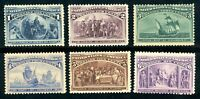 USAstamps Unused FVF US 1893 Columbian Expo Scott 230 to 235 OG All Fresh MNH