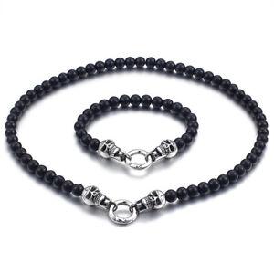 Biker jewelry set stainless steel with black stone Skull necklace bracelet 8mm