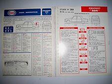 PEUGEOT 204 - Lot de 2 fiches techniques Revue Technique Automobile