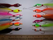 FLOATING JIGS, 12,  3/0  HOOK, ASSORTED COLORS, FLUKE CANDY