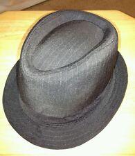 Men's Black Pinstriped Fedora Trilby Hat M/L