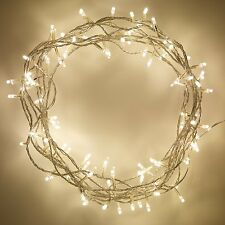 100 Indoor Bedroom Living Room Warm White LED Fairy Lights with Clear Cable
