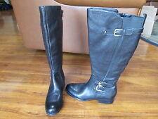 NEW Naturalizer Johanna Knee Hi Boots Wide Shaft Sz 6 Black Leather $169.