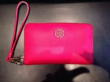 Tory Burch Robinson Smartphone Saffiano Leather Wristlet Wallet Hot Red iPhone 5