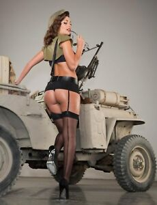 """TIN SIGN """"Hot Army Jeep Beauty"""" Pinup Babe Deco Garage Wall Decor"""