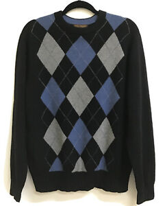 100% Cashmere Paolo Mondo Men's Size M Sweater Argyle Pattern Black/Gray/Blue