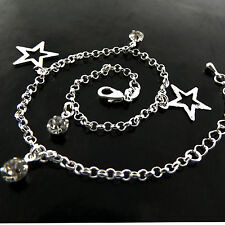 S/F Diamond Simulated Star Charm Design Anklet Genuine Real 925 Sterling Silver