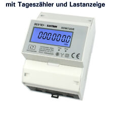 3P LCD Stromzähler für DIN Hutschiene mit mom. Lastanzeige + Tageszähler + S0