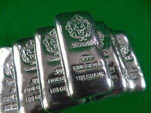 SCOTTSDALE MINT ~ 100g Hand Stamped Cast 999 Silver Bullion Bar ~ 1 pc.