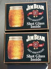 2 Jim Beam Shot Glasses 200th Anniversary Whiskey Barrel Glass 1795-1995 W/Boxes
