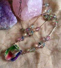 Collar De Cristal Art Deco Checa Iris Gota Colgante facetas granos en oro de alambre