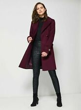 New Dorothy Perkins Womens Ladies Berry Belted Wrap Coat Size 6 8 10 12 14 16 18