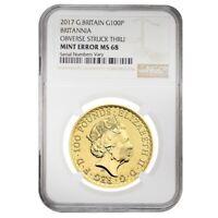 2017 Great Britain 1 oz Gold Britannia Coin NGC MS 68 Mint Error