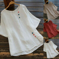 Women Vintage Solid Plus Size O-Neck Short Sleeve Loose Tops T-Shirt Blouse 6-20