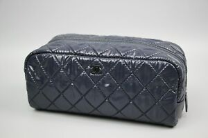 Chanel Authentic designer Makeup Cosmetic Navy quilted Bag Size XS