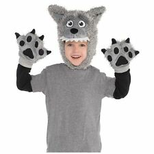 Kids Wolf Costume Fancy Dress Halloween Grey Dog Animal Cute Boys Girls Amscan