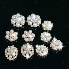 10x Flower Crystal Pearl Flatback Buttons Embellishment for Jewelry Making