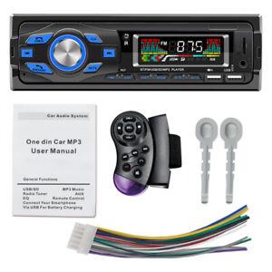 Car Stereo W/ Mic MP3 Player U-disk/AUX Input Car FM Radio Steering Wheel Remote