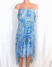 NWT Sharon Young Size 12 Blue Strapless Sarong Dress Gauzy Paisley Shark Bite