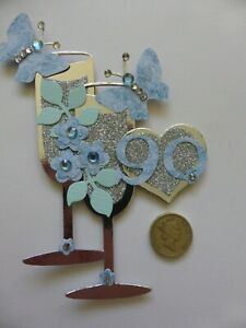 3 Ladies blue floral  70 80 & 90th Double Champagne Glass handmade card toppers
