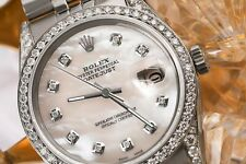 Rolex Oyster Perpetual Datejust White Mother Of Pearl Diamond Dial Bezel & Lugs