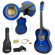 "Beginner Package Guitar Kids Musical Gift 38"" BLUE Acoustic Guitar Starter Child"
